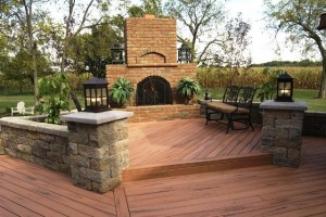 Deck fireplace stone wall