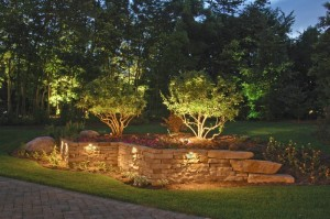 Outdoor lighting makes a striking display at night
