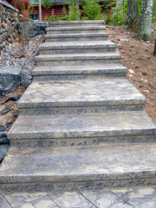 Stamped Steps resembling slate stone