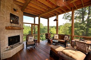 open air porch with fireplace